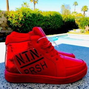 PARISH NATION Red HIGH Top SNEAKERS Size 10.5 NWOT